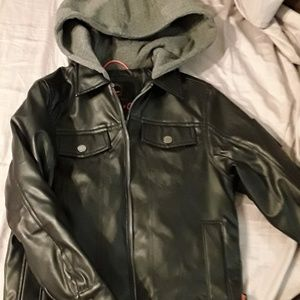 boys lined faux leather jacket with cotton hood